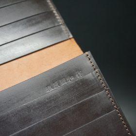新喜皮革社製オイルコードバンのバーガンディ色のスタンダード長財布(小銭入れなしタイプ)-1-10