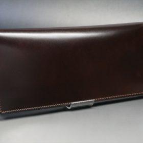 新喜皮革社製オイルコードバンのバーガンディ色のスタンダード長財布(小銭入れなしタイプ)-1-2