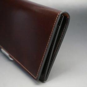 新喜皮革社製オイルコードバンのバーガンディ色のスタンダード長財布(小銭入れなしタイプ)-1-3