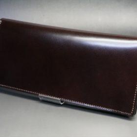 新喜皮革社製オイルコードバンのバーガンディ色のスタンダード長財布(小銭入れなしタイプ)-1-4