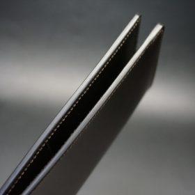 新喜皮革社製オイルコードバンのバーガンディ色のスタンダード長財布(小銭入れなしタイプ)-1-5