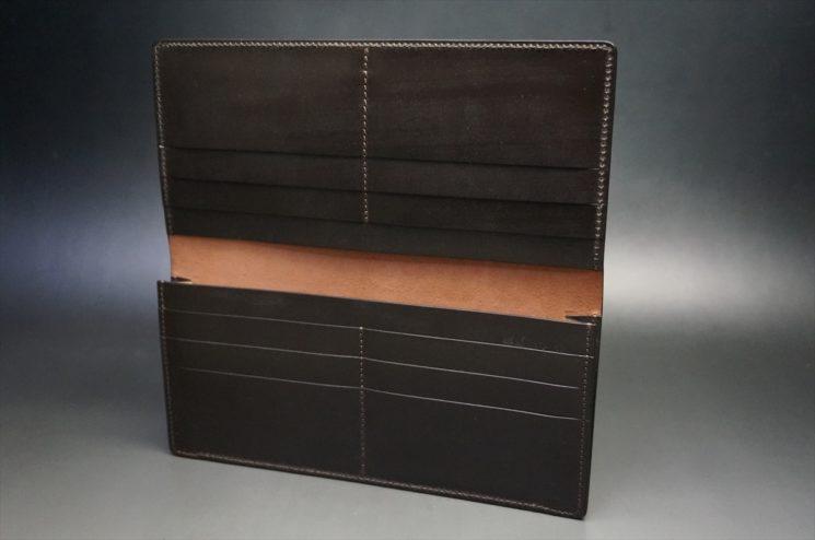 新喜皮革社製オイルコードバンのバーガンディ色のスタンダード長財布(小銭入れなしタイプ)-1-7