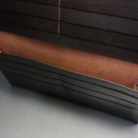 新喜皮革社製オイルコードバンのバーガンディ色のスタンダード長財布(小銭入れなしタイプ)-1-8