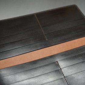 新喜皮革社製オイルコードバンのバーガンディ色のスタンダード長財布(小銭入れなしタイプ)-1-9