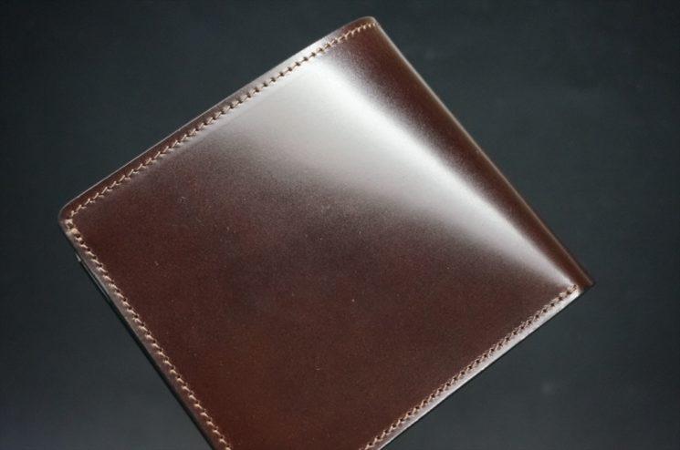 新喜皮革社製オイル仕上げコードバンのバーガンディ色の二つ折り財布(ゴールド色)-1-1