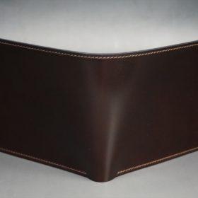 新喜皮革社製オイル仕上げコードバンのバーガンディ色の二つ折り財布(ゴールド色)-1-2