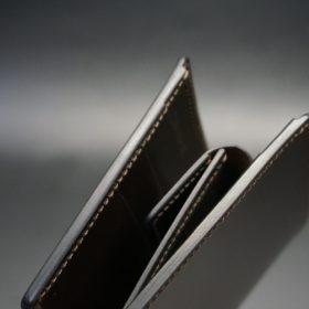 新喜皮革社製オイル仕上げコードバンのバーガンディ色の二つ折り財布(ゴールド色)-1-3