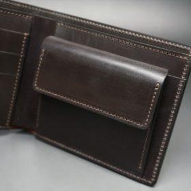 新喜皮革社製オイル仕上げコードバンのバーガンディ色の二つ折り財布(ゴールド色)-1-7