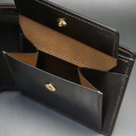 新喜皮革社製オイル仕上げコードバンのバーガンディ色の二つ折り財布(ゴールド色)-1-8