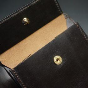 新喜皮革社製オイル仕上げコードバンのバーガンディ色の二つ折り財布(ゴールド色)-1-9