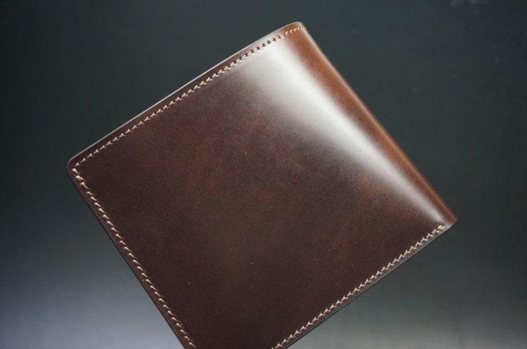 新喜皮革社製オイルコードバンのバーガンディ色の二つ折り財布(小銭入れなしタイプ)-1-1