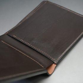 新喜皮革社製オイルコードバンのバーガンディ色の二つ折り財布(小銭入れなしタイプ)-1-10