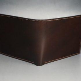 新喜皮革社製オイルコードバンのバーガンディ色の二つ折り財布(小銭入れなしタイプ)-1-2