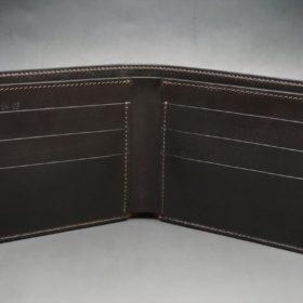 新喜皮革社製オイルコードバンのバーガンディ色の二つ折り財布(小銭入れなしタイプ)-1-6