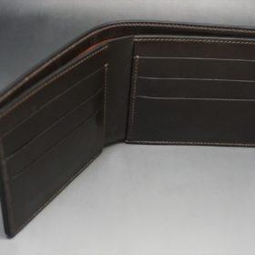 新喜皮革社製オイルコードバンのバーガンディ色の二つ折り財布(小銭入れなしタイプ)-1-7