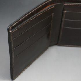 新喜皮革社製オイルコードバンのバーガンディ色の二つ折り財布(小銭入れなしタイプ)-1-8