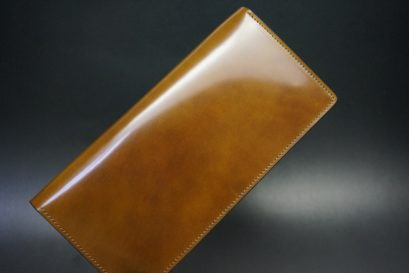 新喜皮革社製オイルコードバンのコーヒーブラウン色のスタンダード長財布(ゴールド色)-1-1