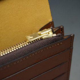 新喜皮革社製オイルコードバンのコーヒーブラウン色のスタンダード長財布(ゴールド色)-1-10