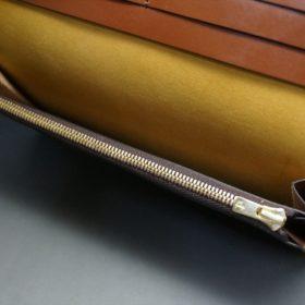 新喜皮革社製オイルコードバンのコーヒーブラウン色のスタンダード長財布(ゴールド色)-1-11