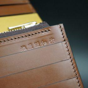 新喜皮革社製オイルコードバンのコーヒーブラウン色のスタンダード長財布(ゴールド色)-1-14