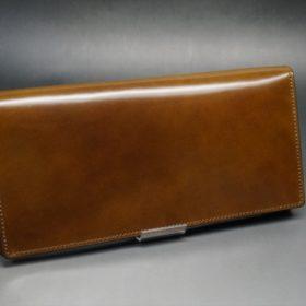 新喜皮革社製オイルコードバンのコーヒーブラウン色のスタンダード長財布(ゴールド色)-1-2