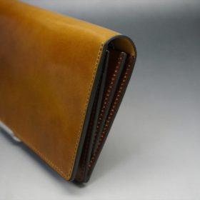 新喜皮革社製オイルコードバンのコーヒーブラウン色のスタンダード長財布(ゴールド色)-1-3