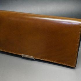 新喜皮革社製オイルコードバンのコーヒーブラウン色のスタンダード長財布(ゴールド色)-1-4