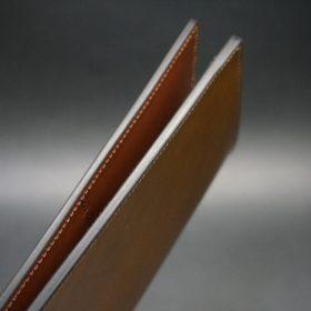 新喜皮革社製オイルコードバンのコーヒーブラウン色のスタンダード長財布(ゴールド色)-1-5