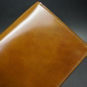 新喜皮革社製オイルコードバンのコーヒーブラウン色のスタンダード長財布(ゴールド色)-1-6