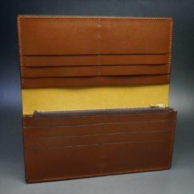 新喜皮革社製オイルコードバンのコーヒーブラウン色のスタンダード長財布(ゴールド色)-1-8