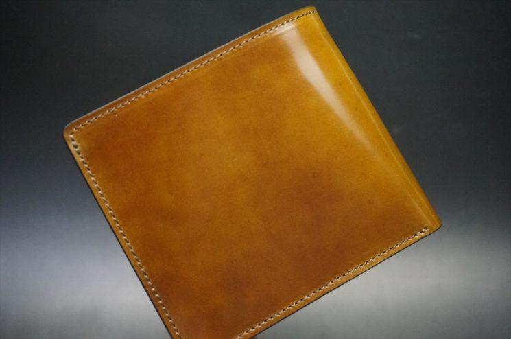 新喜皮革社製オイル仕上げコードバンのコーヒーブラウン色の二つ折り財布(ゴールド色)-1-1