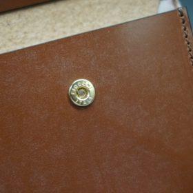 新喜皮革社製オイル仕上げコードバンのコーヒーブラウン色の二つ折り財布(ゴールド色)-1-10