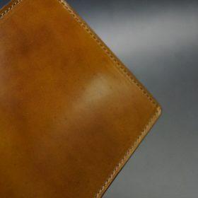 新喜皮革社製オイル仕上げコードバンのコーヒーブラウン色の二つ折り財布(ゴールド色)-1-3