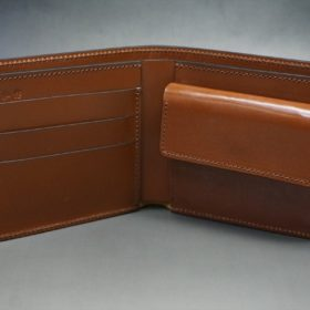 新喜皮革社製オイル仕上げコードバンのコーヒーブラウン色の二つ折り財布(ゴールド色)-1-6