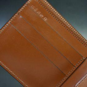 新喜皮革社製オイル仕上げコードバンのコーヒーブラウン色の二つ折り財布(ゴールド色)-1-7