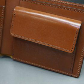新喜皮革社製オイル仕上げコードバンのコーヒーブラウン色の二つ折り財布(ゴールド色)-1-8