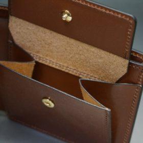 新喜皮革社製オイル仕上げコードバンのコーヒーブラウン色の二つ折り財布(ゴールド色)-1-9