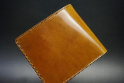 新喜皮革社製オイルコードバンのコーヒーブラウン色の二つ折り財布(小銭入れなしタイプ)-1-1