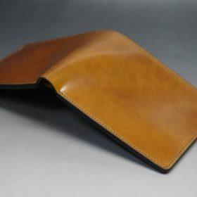 新喜皮革社製オイルコードバンのコーヒーブラウン色の二つ折り財布(小銭入れなしタイプ)-1-10