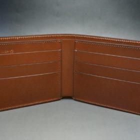 新喜皮革社製オイルコードバンのコーヒーブラウン色の二つ折り財布(小銭入れなしタイプ)-1-6