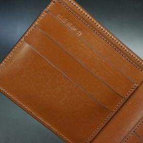 新喜皮革社製オイルコードバンのコーヒーブラウン色の二つ折り財布(小銭入れなしタイプ)-1-8