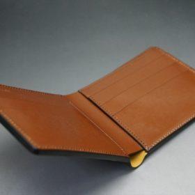新喜皮革社製オイルコードバンのコーヒーブラウン色の二つ折り財布(小銭入れなしタイプ)-1-9