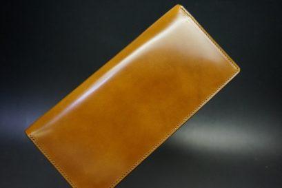 新喜皮革社製オイルコードバンのコニャック色のスタンダード長財布(シルバー色)-1-1