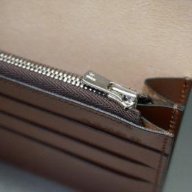 新喜皮革社製オイルコードバンのコニャック色のスタンダード長財布(シルバー色)-1-10