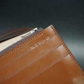 新喜皮革社製オイルコードバンのコニャック色のスタンダード長財布(シルバー色)-1-13