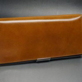 新喜皮革社製オイルコードバンのコニャック色のスタンダード長財布(シルバー色)-1-2