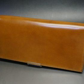 新喜皮革社製オイルコードバンのコニャック色のスタンダード長財布(シルバー色)-1-4