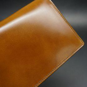 新喜皮革社製オイルコードバンのコニャック色のスタンダード長財布(シルバー色)-1-5