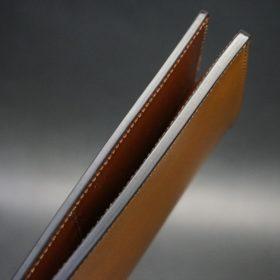 新喜皮革社製オイルコードバンのコニャック色のスタンダード長財布(シルバー色)-1-6