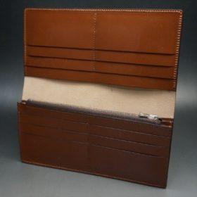 新喜皮革社製オイルコードバンのコニャック色のスタンダード長財布(シルバー色)-1-8